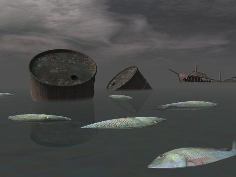 Dead Fish and Oil Tanks in Polluted Ocean Near Tanker Wreck Kunstdruck