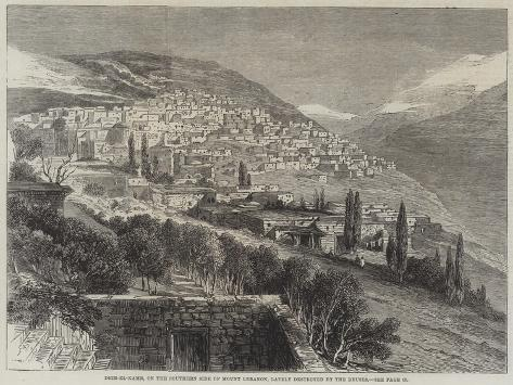 Deir-El-Kamr, on the Southern Side of Mount Lebanon, Lately Destroyed by the Druses Giclée-Druck