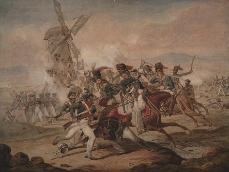 7th Queen's Own Hussars under Sir Edward Kerrison, Charging the French at Quatre Bras, 1818 Giclée-Druck