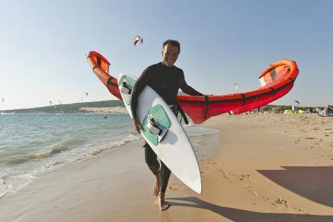 Kitesurfer on the Beach; Tarifa Cadiz Andalusia Spain Fotografie-Druck