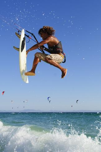 Young Man Kite Surfing; Costa De La Luz,Andalusia,Spain Fotografie-Druck