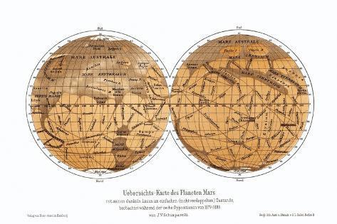 Schiaparelli's Karte von Mars, 1877-1888 Fotografie-Druck