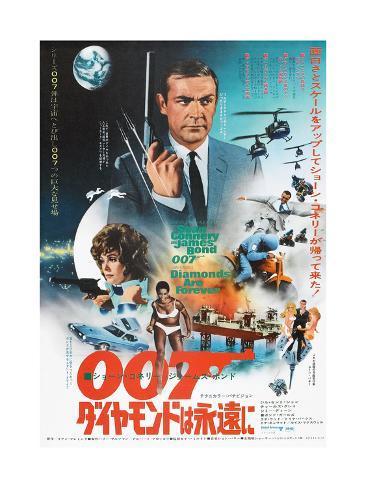 Diamonds are Forever, Japanese poster, Sean Connery, Jill St. John, 1971 Kunstdruck