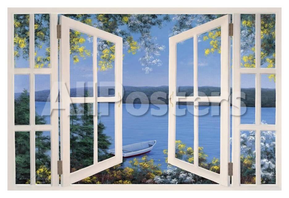 Inselurlaub – Meerblick aus dem Fenster Poster von Diane Romanello ...