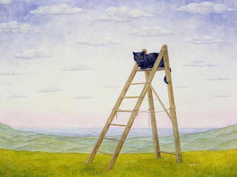 The Ladder Cat Giclée-Druck