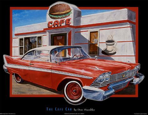 Auto und Café Kunstdruck