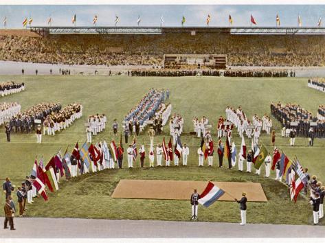 Dutch Footballer Harry Denis Swears the Olympic Oath Fotografie-Druck