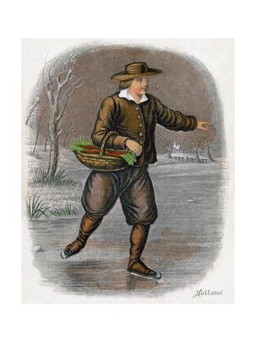 Dutch Man Skating with a Basket of Vegatables, 1809 Giclée-Druck
