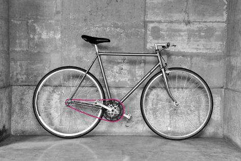 A Fixed-Gear Bicycle (Or Fixie) In Black And White With A Pink Chain Kunstdruck