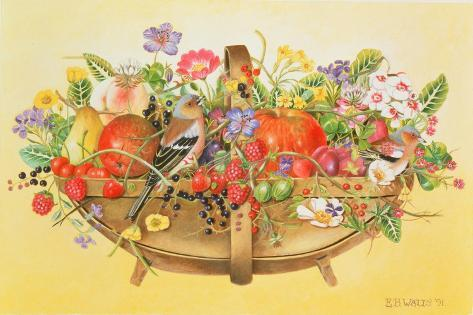 Trug with Fruit, Flowers and Chaffinches, 1991 Giclée-Druck