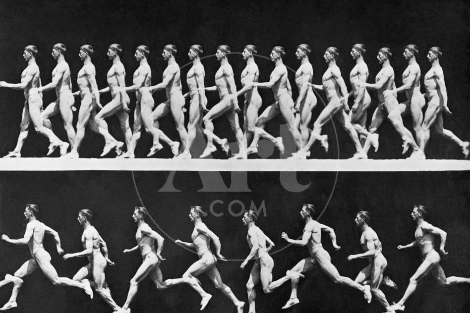 Sequential Frames of Nude Man Walking and Running Fotografie-Druck ...