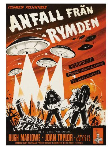 Earth vs. the Flying Saucers, Swedish Movie Poster, 1956 Kunstdruck