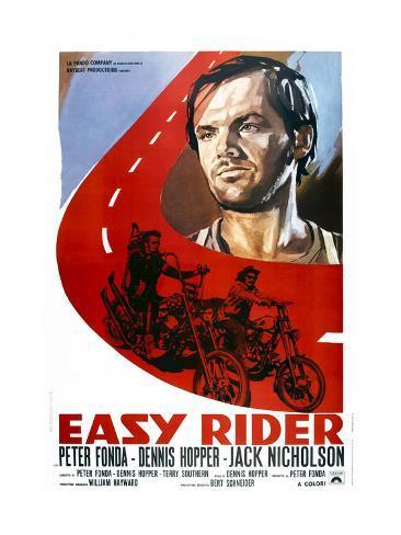 Easy Rider, Italian Poster Art, from Top: Jack Nicholson, Peter Fonda, Dennis Hopper, 1969 Giclée-Druck