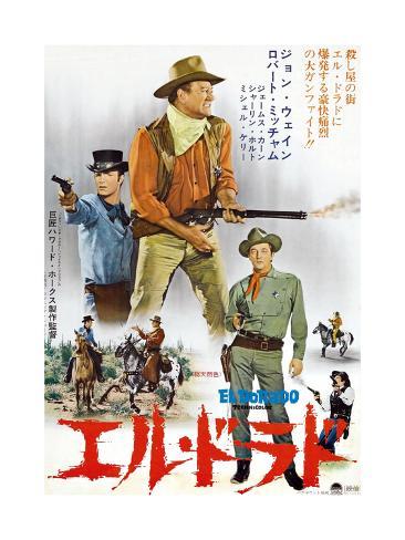 El Dorado, James Caan, John Wayne, Robert Mitchum, Japanese Poster Art, 1967 Giclée-Druck