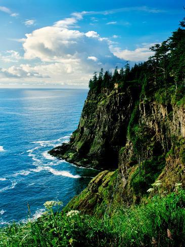 Elevated view of Cape Meares, Oregon Coast, Tillamook County, Oregon, USA Fotografie-Druck
