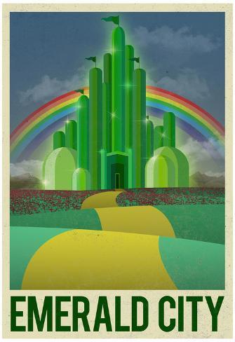 Emerald City Retro Travel Poster Poster