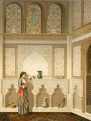 Cairo: Interior of the Domestic House of Sidi Youssef Adami, 19th Century (Chromolitho) Giclée-Druck
