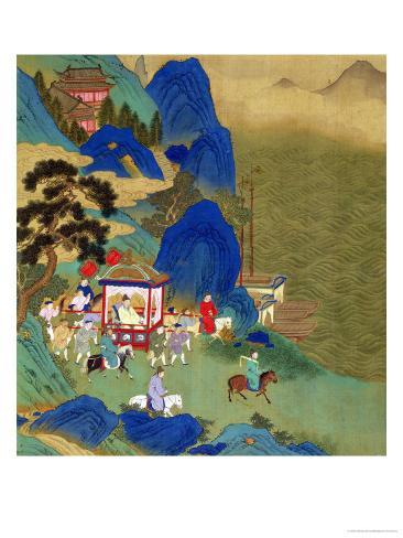 Emperor Ch'In Wang Ti Travelling in a Palanquin, from a History of Chinese Emperors Gicléedruk
