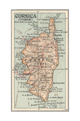 Plate 18. Inset Map of Corsica (Corse). Europe Giclée-Druck von ...