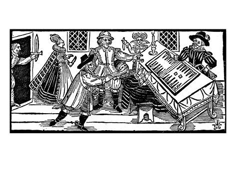 The Murder of Arden of Feversham, an Illustration from 'A Book of Roxburghe Ballads' (Woodcut) Giclée-Druck