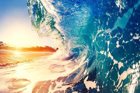 Ocean Wave at Sunrise Fotografie-Druck