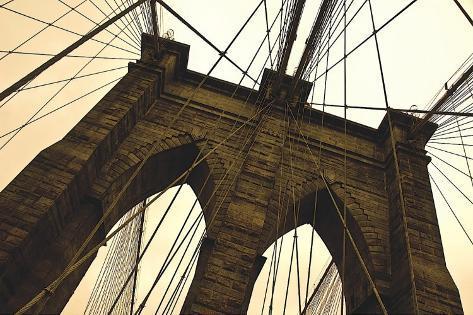 brooklyn bridge ii sepia bedruckte aufgespannte leinwand von erin clark bei. Black Bedroom Furniture Sets. Home Design Ideas
