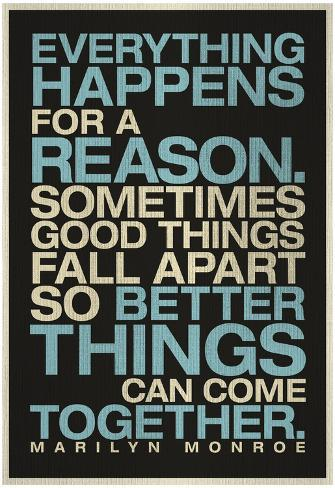 Everything Happens For A Reason Marilyn Monroe Quote Poster Bij