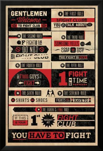 Fight Club - Regeln Infografik Laminiertes gerahmtes Poster