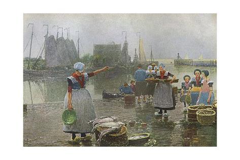 Fisher Folk in Holland Giclée-Druck