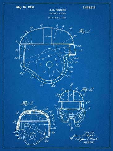 Football Helmet Patent Kunstdruck