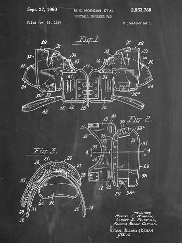 Football Shoulder Pads Patent Kunstdruck