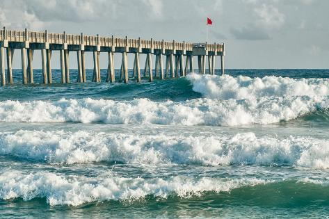 Surf S Up At Pensacola Beach Fishing Pier Fotoprint