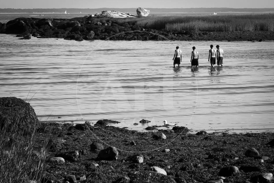 Four Swimmers On Long Island Beach Black White Photo Poster Print