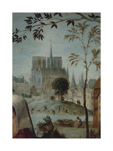 France, Paris, Gallant Scene with Notre-Dame Cathedral Giclée-Druck