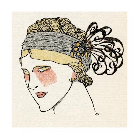 Feather Flapper Headband 1912 Giclée-Druck