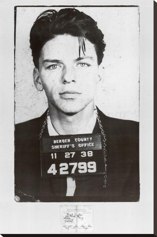 Frank Sinatra Mugshot Bedruckte aufgespannte Leinwand