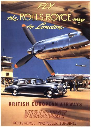 Fly the Rolls Royce way to London, 1953 Kunstdruck