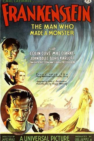 Frankenstein, Marry Shelly, anatomische weergave mannenfiguur Kunstdruk