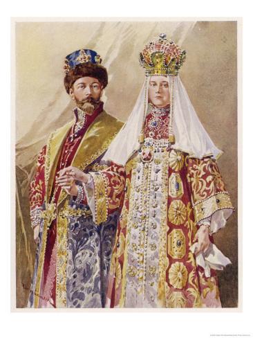 Nikolay Aleksandrovich Czar Nicolas II with Alexandra in Ancient Muscovite Dress Giclée-Druck