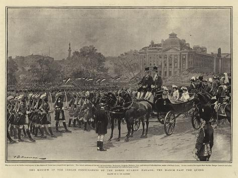 The Review of the Indian Contingents on the Horse Guards Parade, the March Past the Queen Giclée-Druck