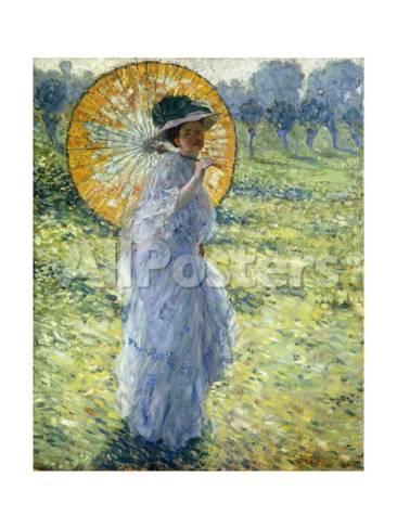 Der Spaziergang Frau Mit Sonnenschirm Giclee Druck Von Frederick