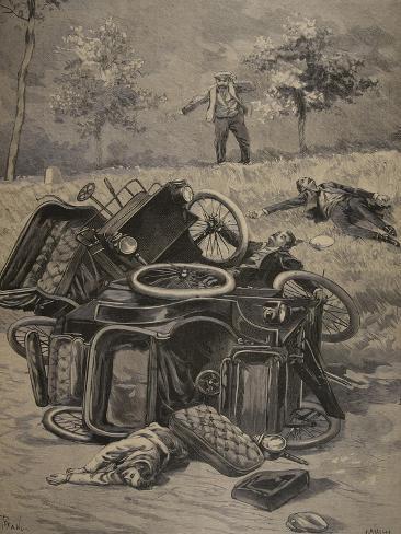 Automobile Accident, Illustration from 'Le Petit Journal: Supplement Illustre', 1898 (Litho) Giclée-Druck