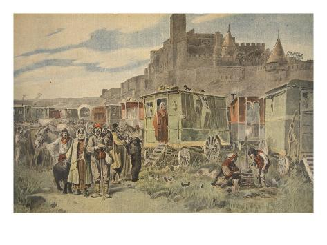 Hungarian Gypsies Outside Carcassonne Giclée-Druck