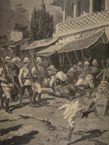 Rebellion in Bombay, Illustration from 'Le Petit Journal: Supplement Illustre', 1898 (Litho) Giclée-Druck