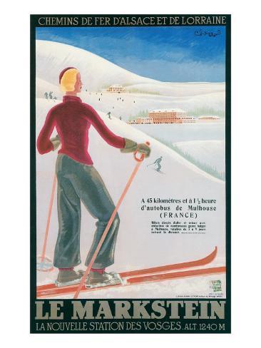 French Ski Poster with Woman Skier Kunstdruck
