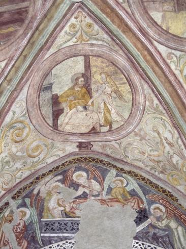 Frescoes from Late-Romanesque St Hippolytus Church, Zell Am See, Salzburgerland, Austria Giclée-Druck