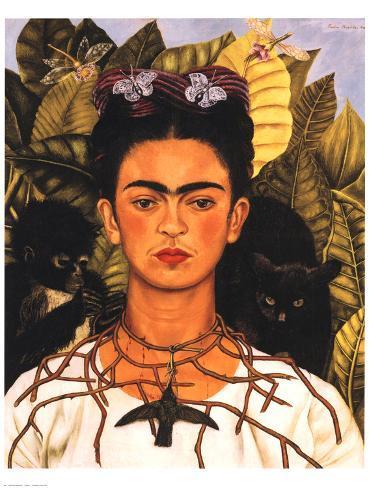 portrait with necklace poster von frida kahlo bei. Black Bedroom Furniture Sets. Home Design Ideas