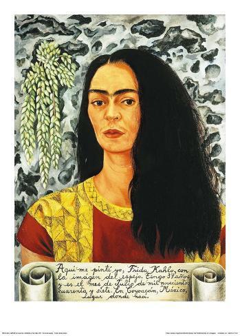 selbstportrait mit offenem haar 1947 kunstdrucke von frida kahlo bei. Black Bedroom Furniture Sets. Home Design Ideas