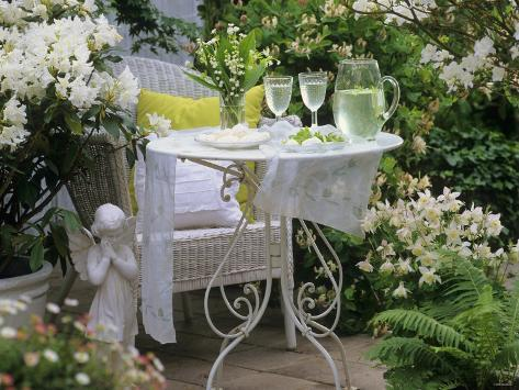 Meringues And Woodruff Punch On Romantic Garden Table Fotografie