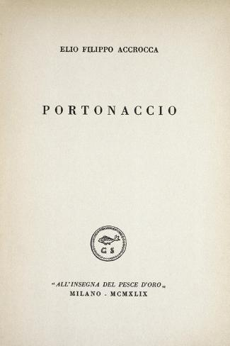 Front Page of Portonaccio by Elio Filippo Accrocca, Collection of Poems Giclée-Druck